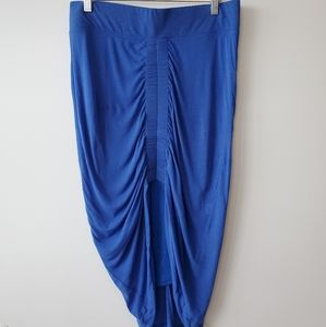 Helmut Lang high low skirt in bright blue